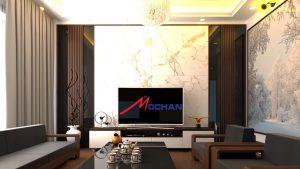 kệ tivi MH 204TL, giá bán 1,500,000/md, vách trang trí sau kệ 890,000/m2, kệ tivi ngồm 3 phần ,hộc tróng và ngăn kéo,2 cánh mở tiện dụng kệ cao 45cm sâu 40cm dài tùy vào diện tích phòng của từng căn hộ hoặc nhà phố, vách ngồm 2 phần vách gỗ MDF phủ melamine sản xuất theo dạng nan cột, phần PVC giả đá, cốt trong MDF chống ẩm lõi xanh Thái Lan
