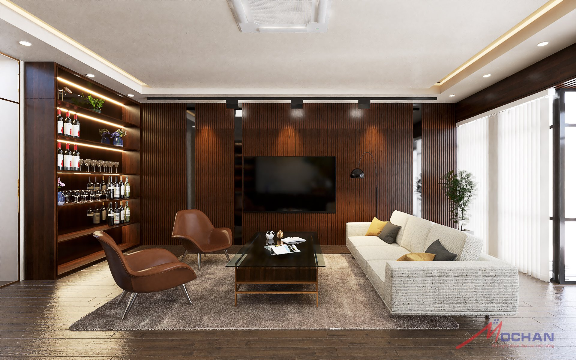 Sự kết hợp giữa ánh đèn , cây xanh và cách bố trị của văn phòng tạo nên một không gian ấm cúng, thanh lịch, tron g lành