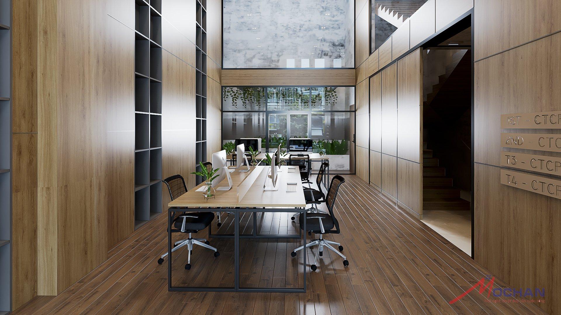 Sự kết hợp hài hòa giữa những đường vân gỗ xen lẫn đường viền inoc cùng cách bày trí cây xanh tạo nên một không gian hài hòa, sang trọng, đầy tính chuyên nghiệp