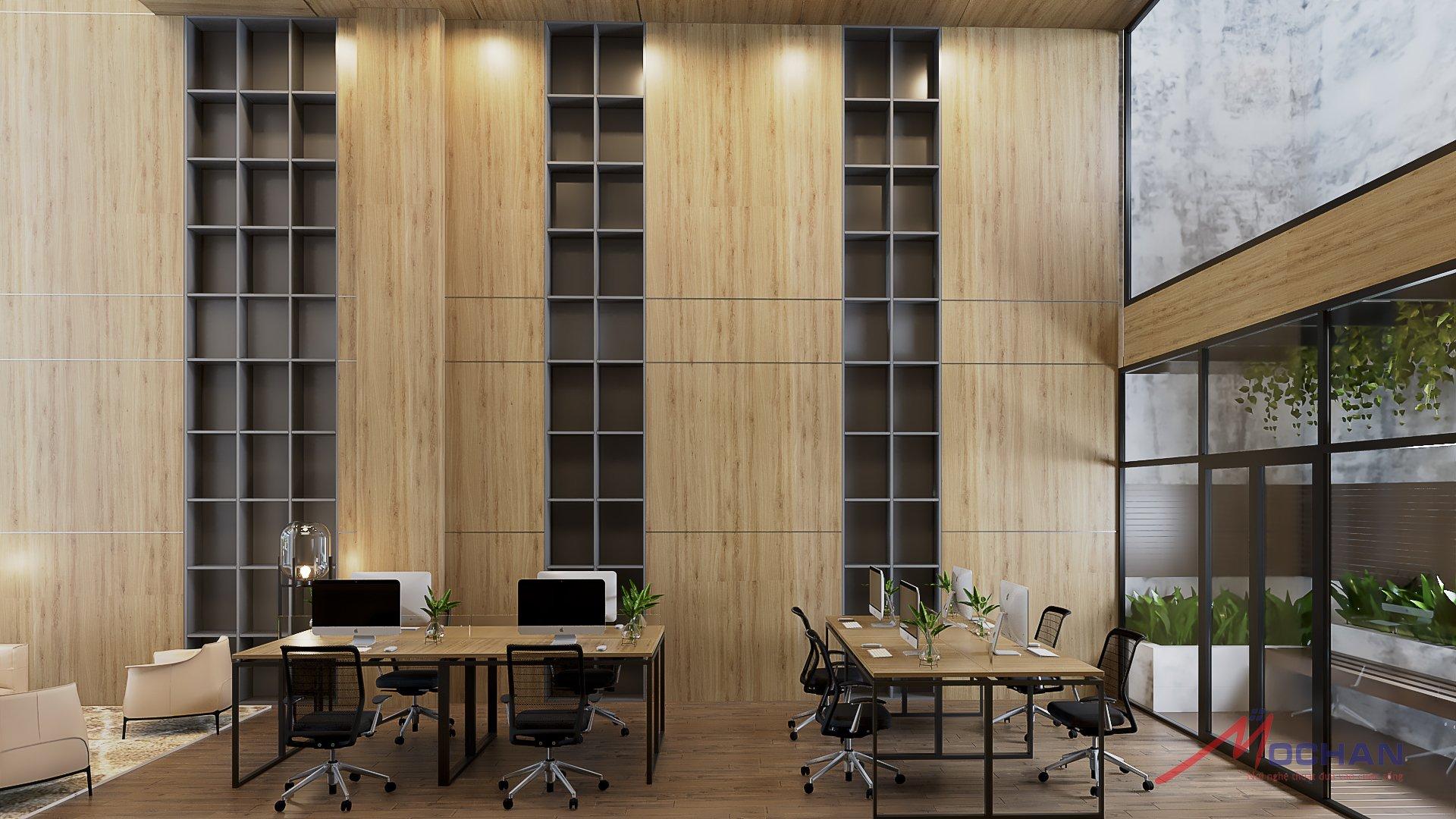 Sự kết hộ giữa khối vuông đều nhau xen giữa màu gỗ nhẹ tạo nên sự sang trọng cho văn phòng