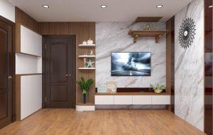 kệ ti vi hiện đại MH 201TL, giá bán 1,500,000/md, vách trang trí sau kệ 890,000/m2, kệ tivi ngồm 2 phần ,hộc tróng và ngăn kéo, kệ cao 45cm sâu 40cm dài tùy vào diện tích phòng của từng căn hộ hoặc nhà phố, vách ngồm 2 phần vách gỗ MDF phủ melamine sản xuất theo dạng nan cột, phần PVC giả đá, cốt trong MDF chống ẩm lõi xanh Thái Lan